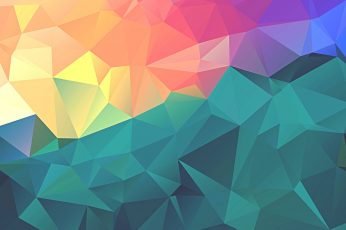 Teal and red illustration wallpaper, minimalism, colorful, polygon art