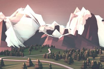 White and brown mountain illustration wallpaper, mountains, low poly, digital art
