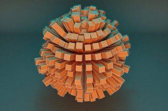 Round brown rubber ball wallpaper, Cinema 4D, render, abstract, digital art