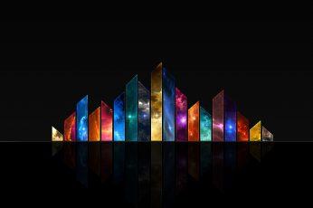 Multicolored logo digital artwork wallpaper, simple, simple background