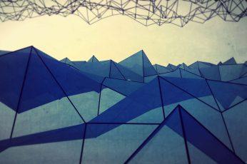 Geometric digital wallpaper, abstract, low poly, triangle, digital art