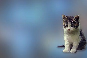 Polygon wallpaper, geometric white and black kitten illustration, white and black cat illustration
