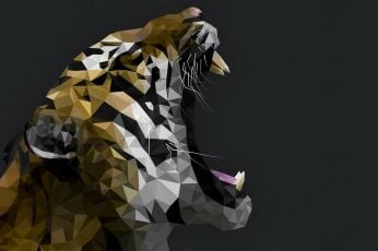 Tiger mosaic artwork wallpaper, gray background, animals, low poly, digital art