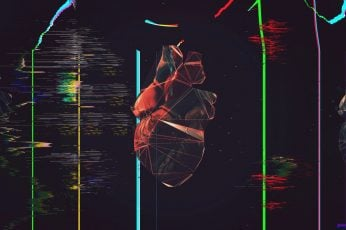 Black and red human heart illustration wallpaper, glitch art, polygon art