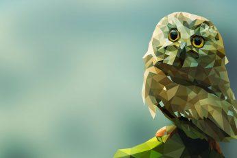 Brown owl illustration wallpaper, brown mosaic owl painting, animals, digital art