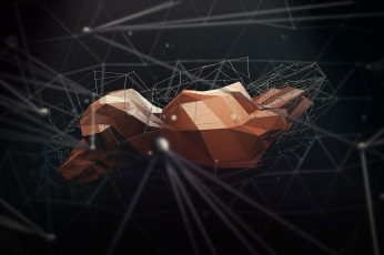 Gray and orange geometric digital wallpaper, render, wireframe