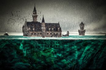 Brown and black castle painting wallpaper, digital art, fantasy art, architecture