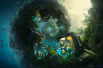 Black treasure boxes illustration wallpaper, Desktopography, nature, landscape