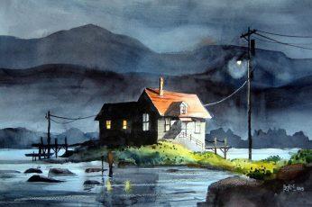 House illustration near body of water wallpaper, digital art, fantasy art
