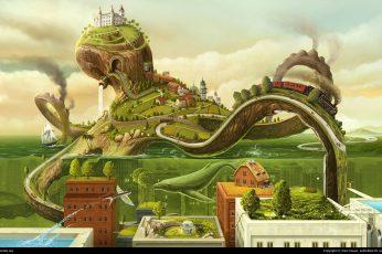 Octopus road under ocean and building illustration wallpaper, fantasy art