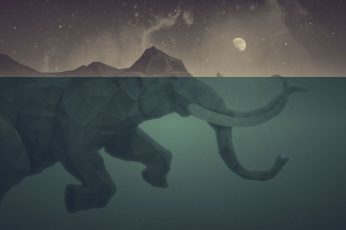 Elephant illustration wallpaper, gray elephant anime illustration, mammoths