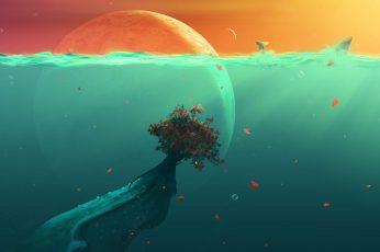 Bleu body of water illustration wallpaper, red tree under body of water illustration