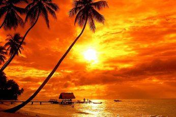 Bora Bora Tropical Sunset Beach Palm Trees Red Sky Clouds Ultra Hd 4k Wallpaper For Desktop Laptop Tablet Mobile Phones And Tv 3840х2400