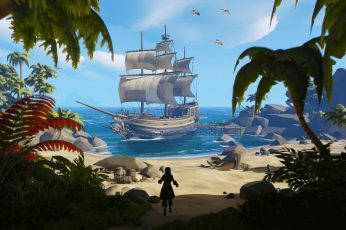 Brown ship on shore illustration wallpaper, video games, pirates, Sea of Thieves