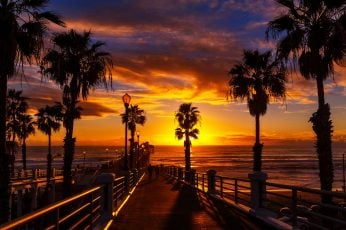 Sunset At The Oceanside Pier In The North County Of San Diego California Desktop Hd Wallpaper For Mobile Phones Tablet And Pc 3840×2400
