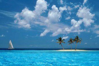 Ocean boat tropical windows xp islands palm trees skyscapes 1280×960 Nature Oceans HD Art wallpaper