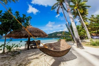 Resort wallpaper, sandy beach, palapa, parasol, braided hammock, philippines