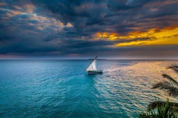 Sailboat on body of water wallpaper, sunset, sea, sky, sailing ship, nature