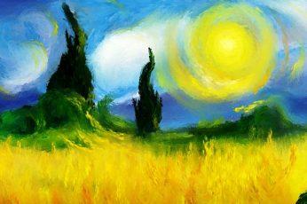 Surreal wallpaper, artwork, painting, Vincent van Gogh, multi colored