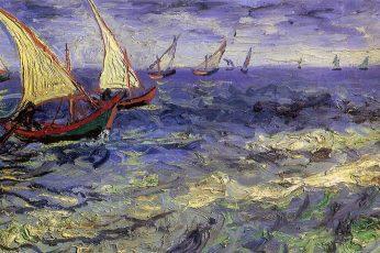 Vincent van Gogh wallpaper, boat, painting, sea, artwork, classic art