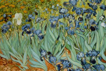 Blue and green floral painting wallpaper, Vincent van Gogh, classic art