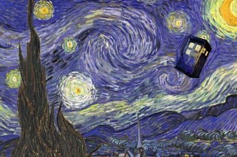 Starry Night by Vincent Van Gogh wallpaper, Doctor Who, TARDIS, abstract