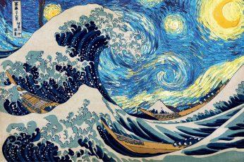 Starry night wallpaper, Hokusai, Vincent van Gogh, The Great Wave off Kanagawa