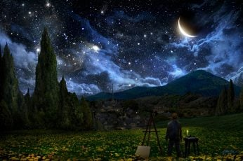 Man beside canvas with view of flower field under starry sky painting wallpaper