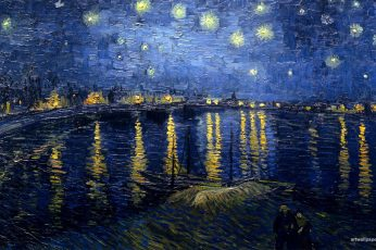 Body of water and stars painting wallpaper, Vincent van Gogh, classic art