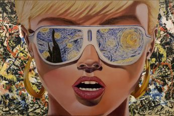 Woman wearing Starry Night by Vincent Van Gogh sunglasses, blonde wallpaper