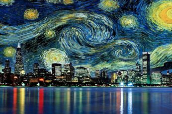 Cityscape and starry night painting wallpaper, A Starry Night by Vincent Van Gogh