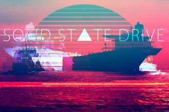 Solid State Drive text wallpaper, vaporwave, 1980s, artwork, pixel art