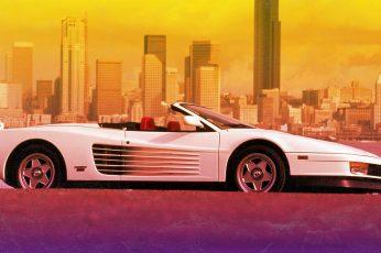 The city wallpaper, Ferrari, 80s, Testarossa, VHS, 80's, Synth, Retrowave
