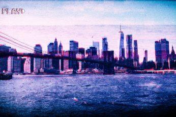 Brooklyn Bridge wallpaper, New York City, VHS, vaporwave, Photoshop, glitch art