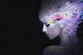 Girl wallpaper, Feathers, Makeup, Beautiful, AMOLED, HD