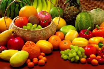 Variety of fruits and vegetables wallpaper, allsorts, pineapple, melon