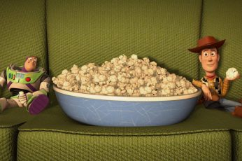 Popcorn and toy figures wallpaper, movies, Toy Story, animated movies, Pixar Animation Studios