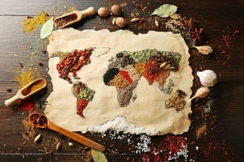Assorted-color spicies world map artwork wallpaper, spices, food, indoors