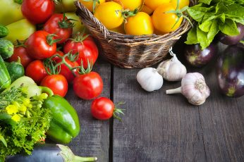 Fruits and vegetables wallpaper, food, tomatoes, eggplant