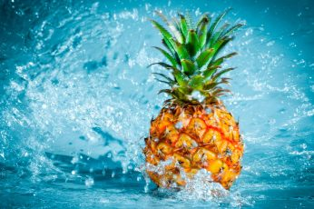 Pineapple fruit wallpaper, pineapples, water, food, motion, splashing, blue