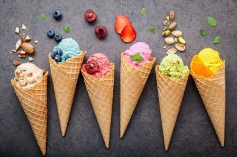 Ice cream wallpaper, food, colorful, food and drink, cone, ice cream cone