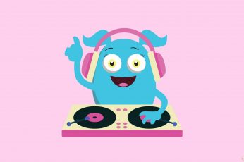 Cute Girly Monster DJ wallpaper, Cartoons, Others, pink color, mammal, domestic animals