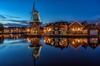 Night wallpaper, lights, Netherlands, Holland, North Holland, Haarlem