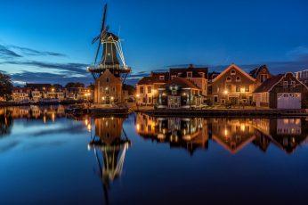 Night wallpaper, lights, Netherlands, Holland, North Holland, Haarlem