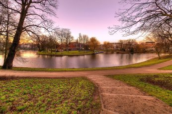 Haarlem wallpaper, netherlands, town, nature, canal, tree, park