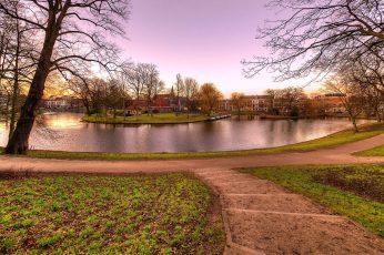 Haarlem wallpaper, netherlands, town, nature, canal, tree, park