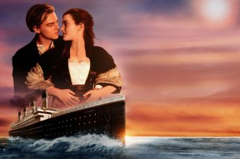 Titanic wallpaper, couple in love, Leonardo DiCaprio, Kate Winslet, Sunset