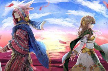 Couple wallpaper, sky, anime girls, anime boys, painting, original characters