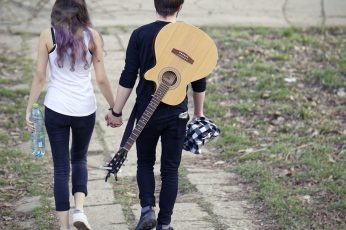 Couple wallpaper, boy, girl, romance, together, romantic, guitar, walk
