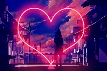 Boy Meets Girl wallpaper, love, neon, night, illuminated, long exposure